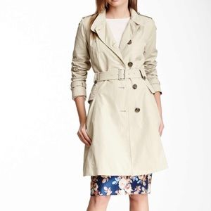 Cole Haan zipped pocket trench coat beige